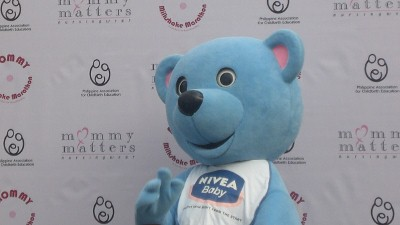 A mascot from one of the sponsors