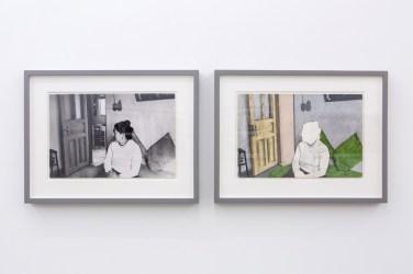 Nil Yalter Rahime, Türkiyeli Bir Kürt Kadın 1979 Fotoğraflar, video ve çizimlerle yerleştirme 11 adet çerçeveli iş, bezler, kaide, TV monitörü Değişken boyutlar