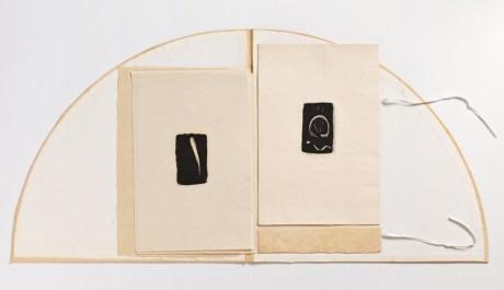 Bilge Friedlaender Sinan'a Saygı 1983 Sanatçı Kitabı Pirinç kâğıt üzerine monotip baskı, ipek folyo kapak
