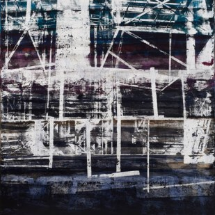 Semih Zeki, _ Derme-Çatma_, 2017, tuval üzerine karışık malzeme, 155 x 125 cm