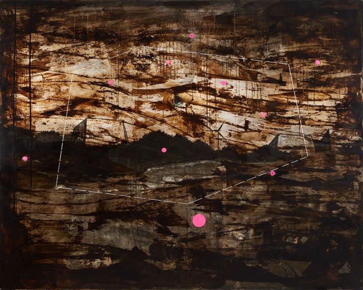 Semih Zeki, İsimsiz, 2017, tuval üzerine karışık malzeme, 160 x 200 cm