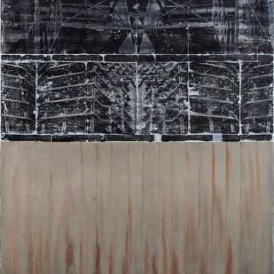 Semih Zeki,_ Yeniden Yapılanma_, 2017, tuval üzerine karışık malzeme, 180 x 160 cm