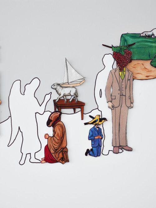 Volkan Aslan Endişe 2005-2019 Hazır keçe figürler ve duvar boyası ile mekâna özgü yerleştirme Fotoğraf: Hadiye Cangökçe Arter Koleksiyonu