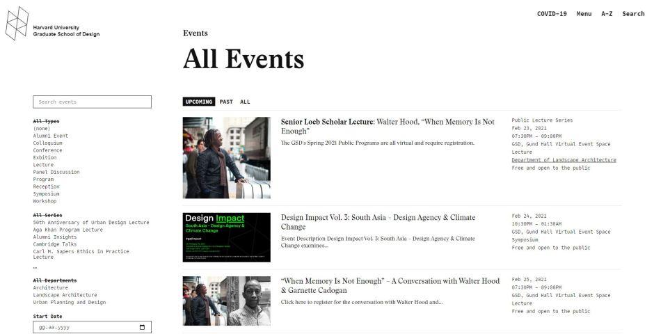 Harvard GSD Bahar 2021 Programı Web Sitesi, Takvim Sayfası