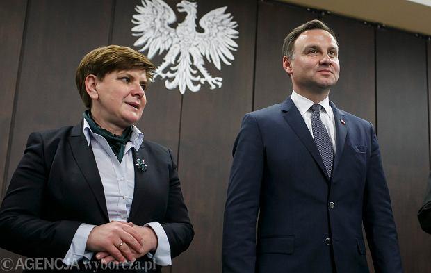 Beata Szydło (szefowa sztabu Andrzeja Dudy) i Andrzej Duda