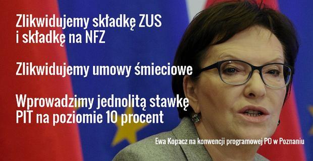 Najważniejsze obietnice wyborcze PO przedstawione na konwencji w Poznaniu