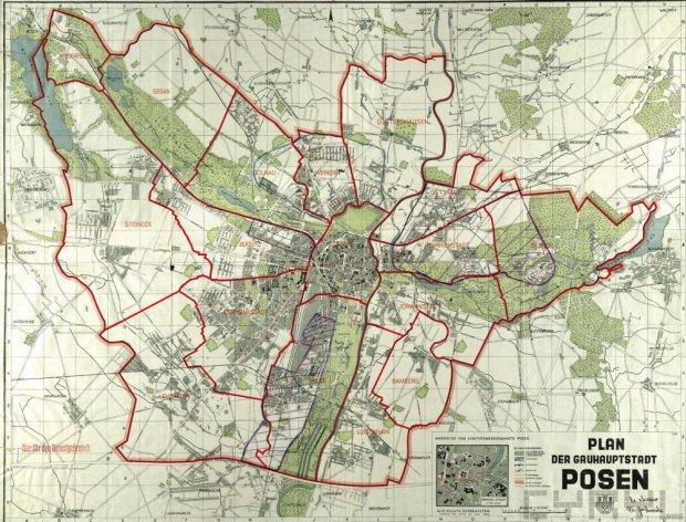 Poznań w 1940 roku - plan. Podział na dzielnica