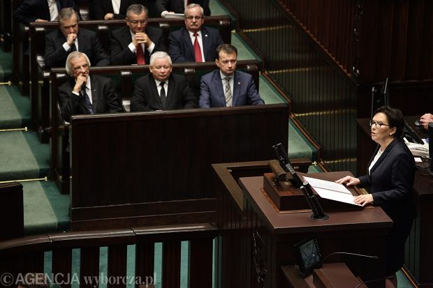 Ewa Kopacz przemawia podczas inauguracyjnego posiedzenia Sejmu VIII kadencji