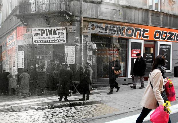 Kolage przedwojennego zdjęcia kamienicy przy ul. Lubartowskiej i Cyruliczej z obecnym widokiem