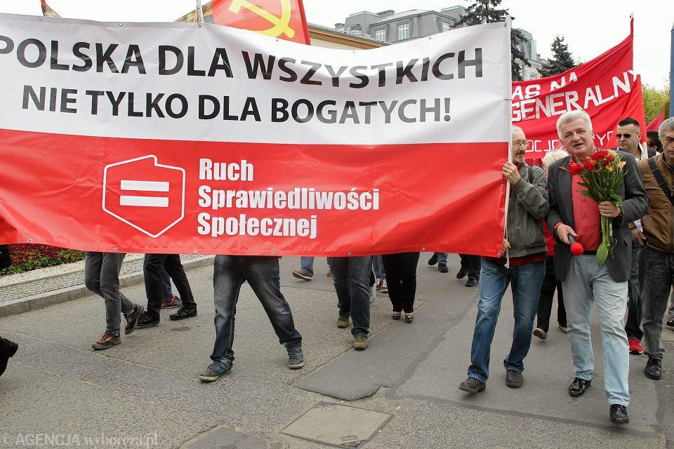 Marsz Sprawiedliwości Społecznej w Warszawie, 1 maja 2016.