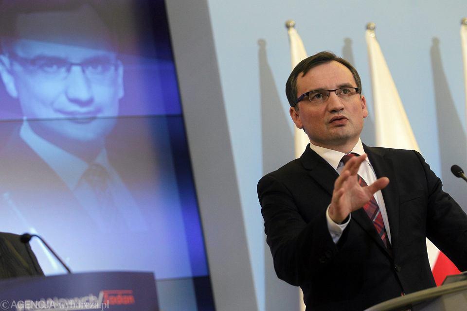 Minister sprawiedliwości Zbigniew Ziobro podczas konferencji 'Rok Nowych Zadań', Warszawa 20.01.2017 r.