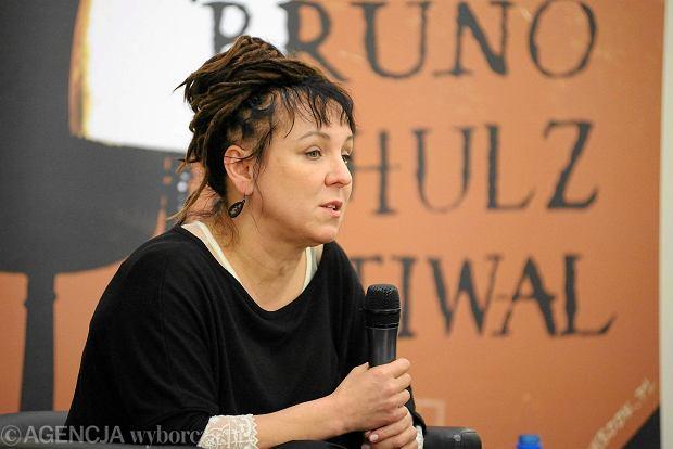 Olga Tokarczuk podczas spotkania z czytelnikami w Ossolineum