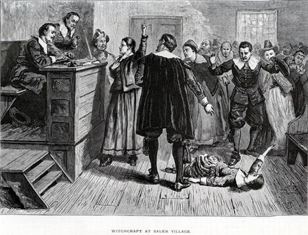 Rycina przedstawiająca proces czarownic z Salem