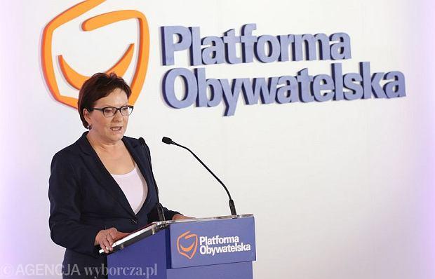 Premier Ewa Kopacz na Radzie Krajowej PO