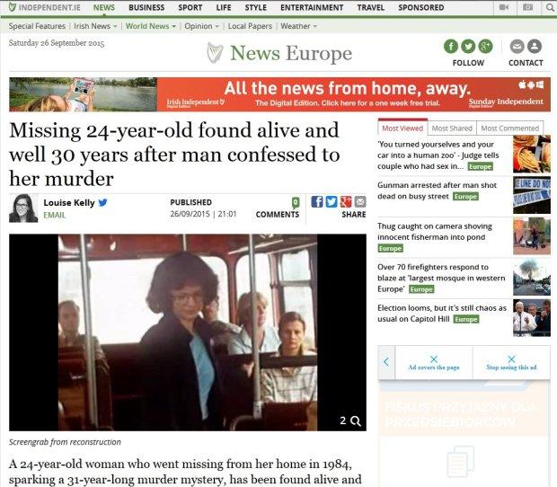Informacja o ujawnieniu się zaginionej Niemki na stronie internetowej dziennika