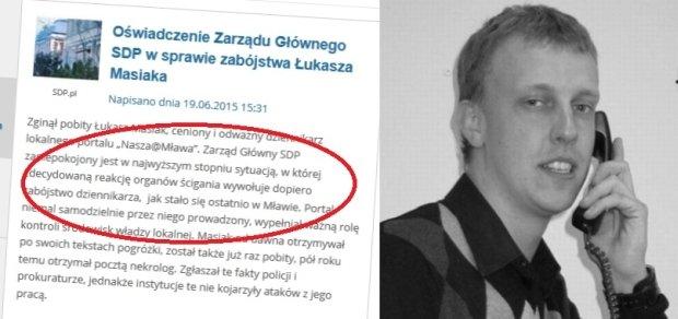 Fragment oświadczenia SDP ws. śmierci Łukasza Masiaka