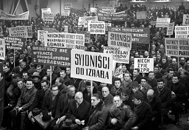 20 marca 1968 r., masówka w Nowej Hucie. Aktyw wyraża poparcie dla linii partii