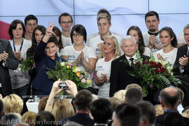 Jarosław Kaczyński podczas wieczoru wyborczego PiS