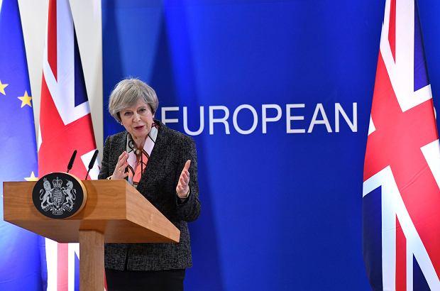 Brytyjska premier Theresa May na konferencji podczas szczytu UE 9 marca