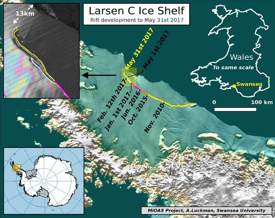 Tak od lodowca szelfowego Larsena C odrywa się potężna góra lodowa. Stan z 31 maja 2017 r.