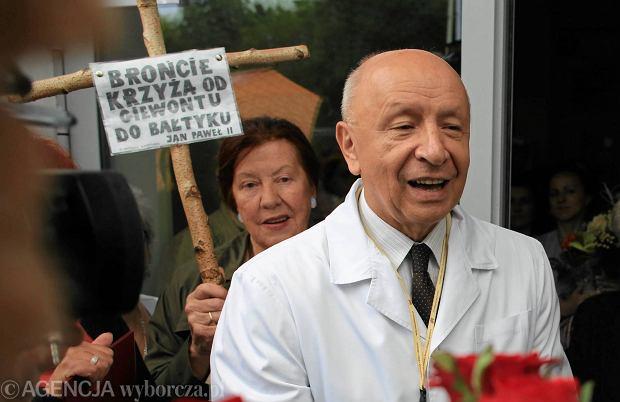 Prof. Bogdan Chazan 13 czerwca na pikiecie zorganizowanej w jego obronie