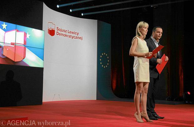 Magdalena Ogórek i Łukasz Naczas podczas konwencji partyjnej w 2011 roku