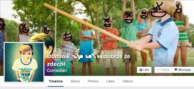 Strona na Facebooku naśmiewająca się z Dominika