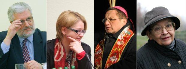 Marcin Przecieszewski, szef KAI; Agnieszka Kozłowska-Rajewicz, pełnomocniczka ds. równego traktowania; biskup Grzegorz Ryś; Halina Bortnowska