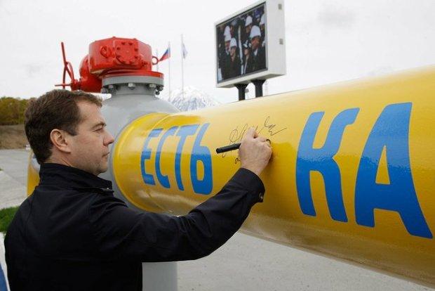 Rok 2010, prezydent Dmitrij Miedwiediew podczas ceremonii otwarcia gazociągu Sobolewo-Pietropawłowsk Kamczacki