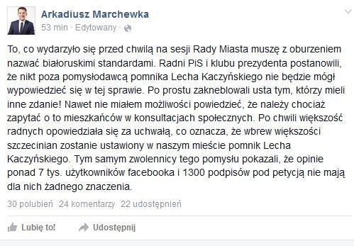 Wpis radnego Arkadiusza Marchewki