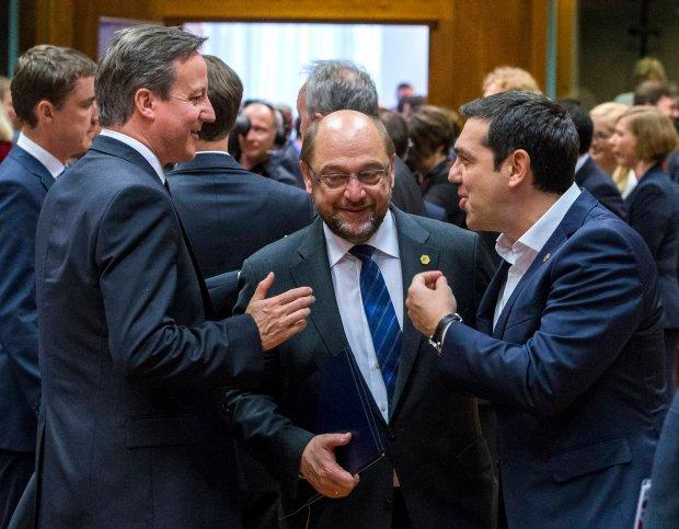 Brytyjski premier David Cameron, przewodniczący Parlamentu Europejskiego Martin Schulz i premier Grecji Aleksis Tsipras wczoraj w Brukseli. Ewentualny Grexit i Brexit to wielki problem Europy