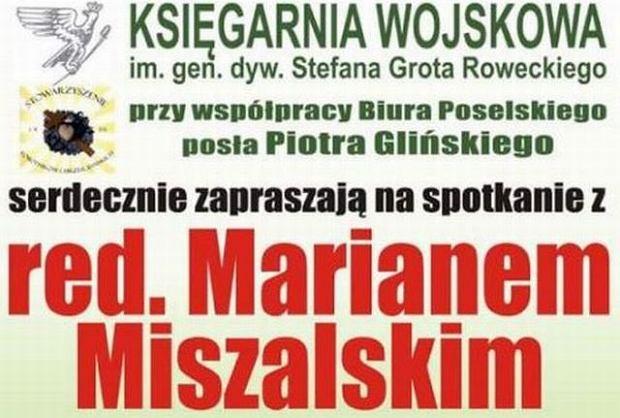 Plakat zapowiadający spotkanie z Marianem Miszalskim