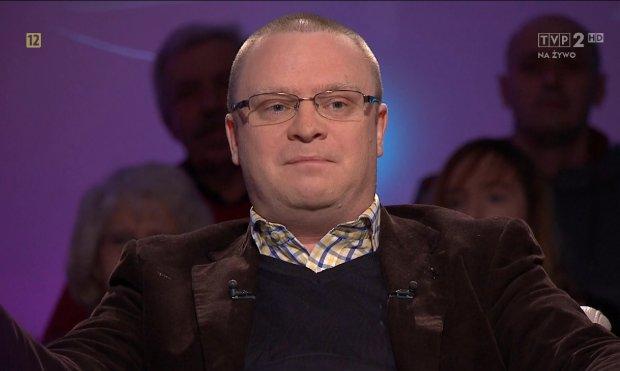 Łukasz Warzecha jest częstym gościem TVP, na zdjęciu w programie