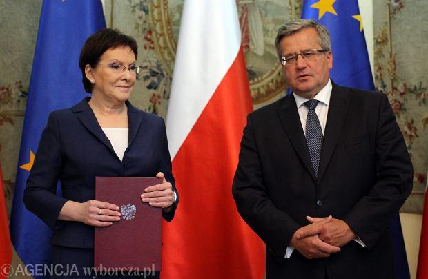 Ewa Kopacz i Bronisław Komorowski podczas uroczystości desygnacji Kopacz na stanowisko premiera