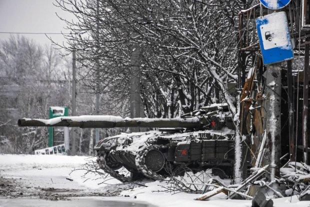 Czołg prorosyjskich separatystów w Doniecku