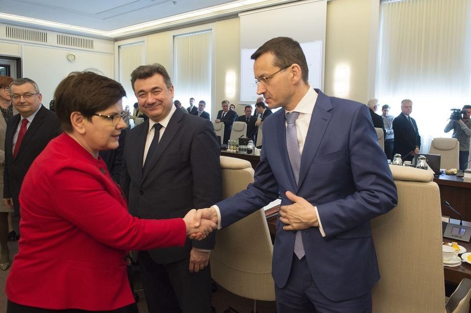 Posiedzenie rzadu N/z premier Beata Szydlo, minister rozwoju Mateusz Morawiecki