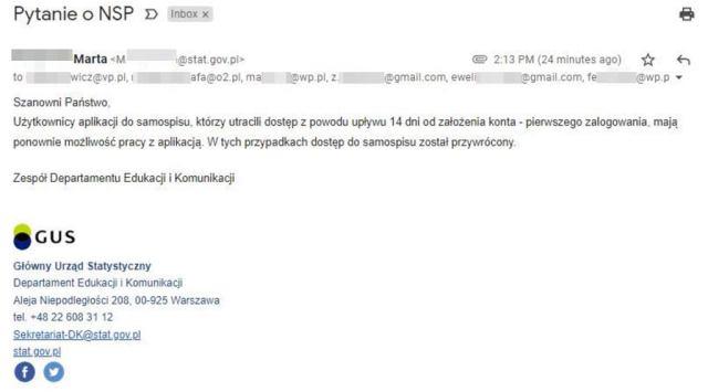 GUS wysłał e-maila zawierającego listę 500 adresów mailowych