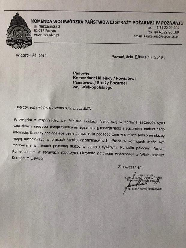Pismo z Komendy Wojewódzkiej PSP, które dostali wielkopolscy Strażacy
