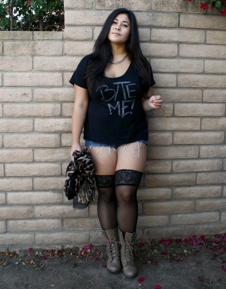 "Graphic ""Bite Me"" tee & thigh-high stockings; OOTD"
