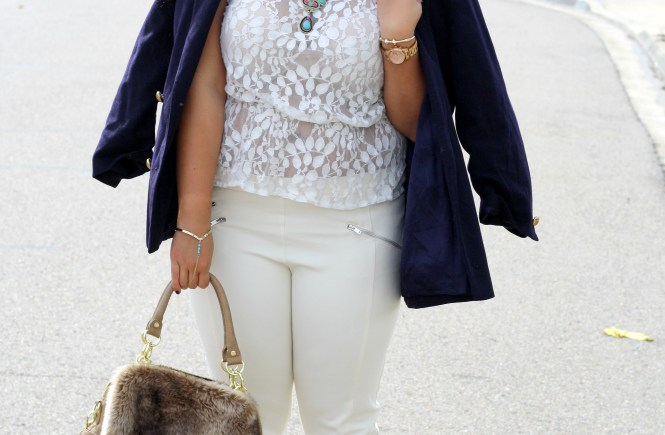 Sheer cream blouse Zara trousers