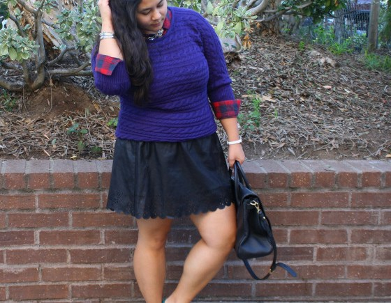 layer flannel knit sweater