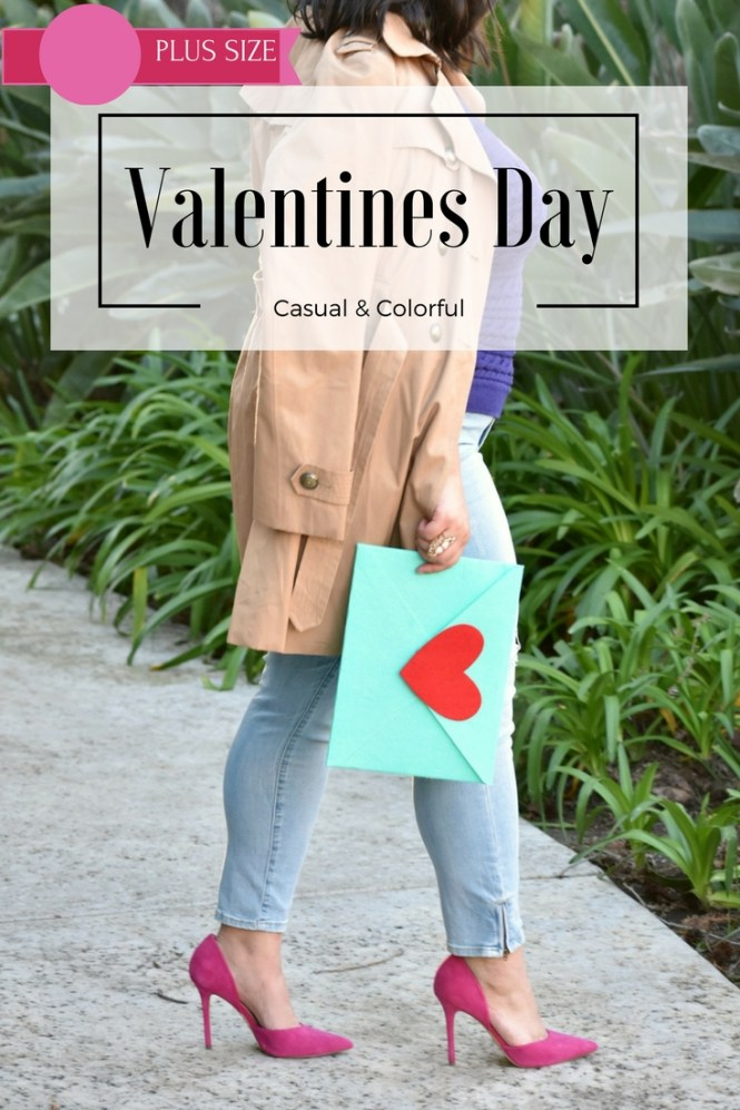 Casual colorful plus size valentines day date outfit