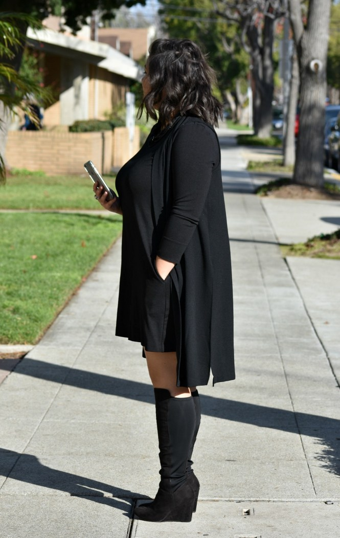 OTK plus size boots all black outfit