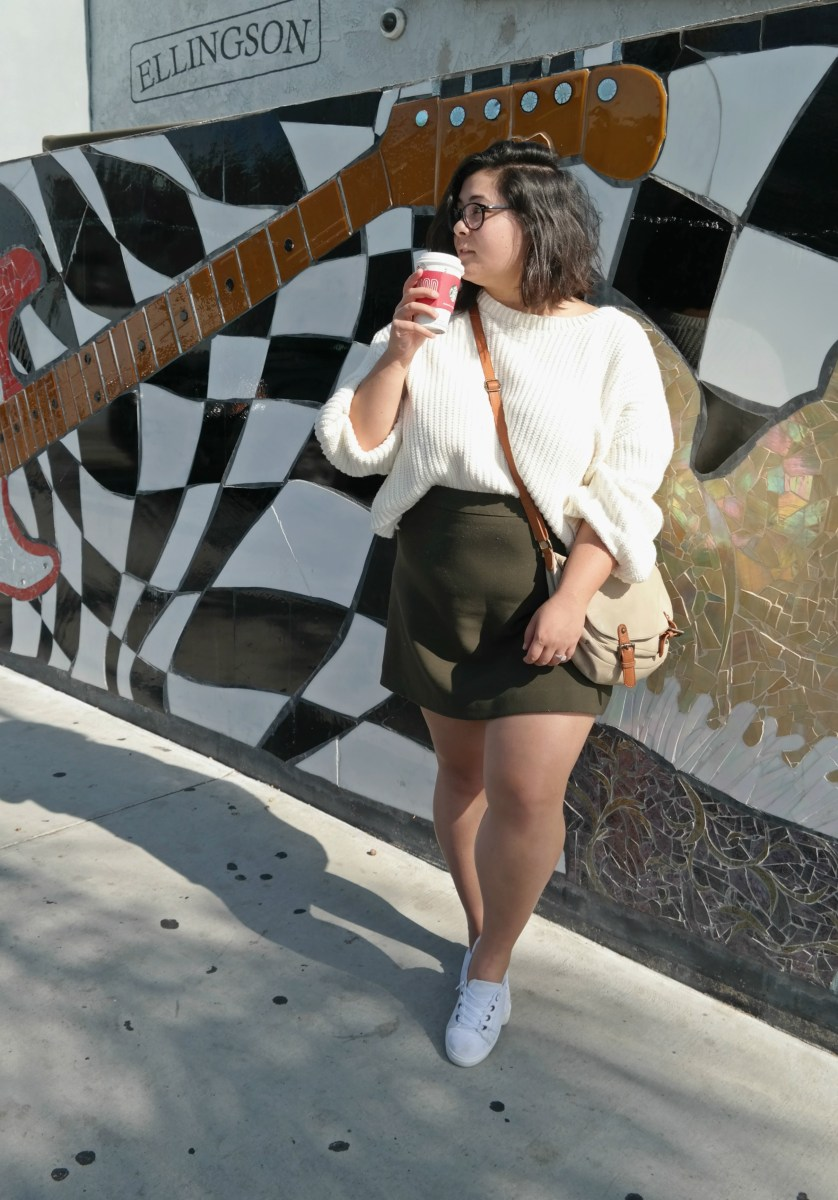 Winter Mini Skirt & Cropped Knit Sweater; OOTD