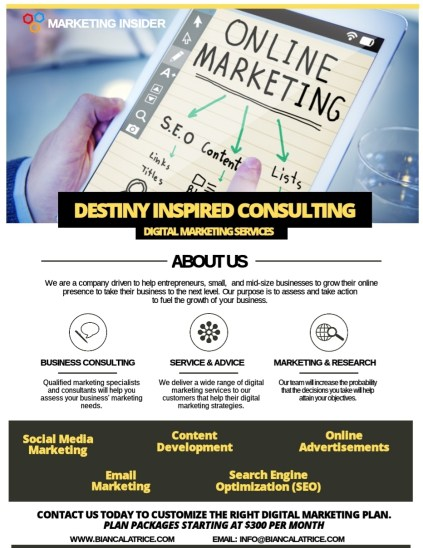 Destiny Inspired Consulting marketing flyer