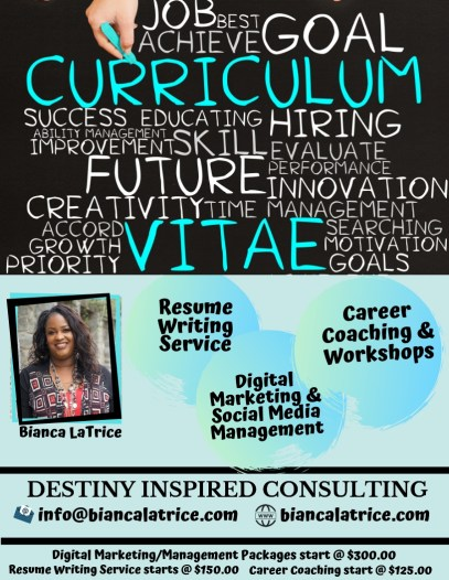 business flyer for destiny inspired consulting