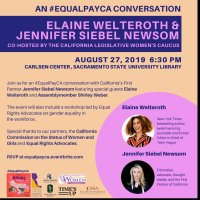 TONIGHT (8/27/19): First Partner Jennifer Siebel Newsom Hosts #EqualPayCA Panel with Project Runway Judge and Former Teen Vogue Editor-in-Chief Elaine Welteroth & Assemblymember Shirley N. Weber