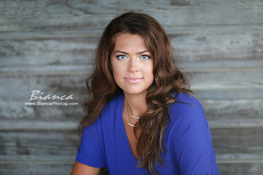 Senior Pictures of Brunette in Blue Shirt