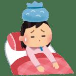 風邪ひいて寝ている画像