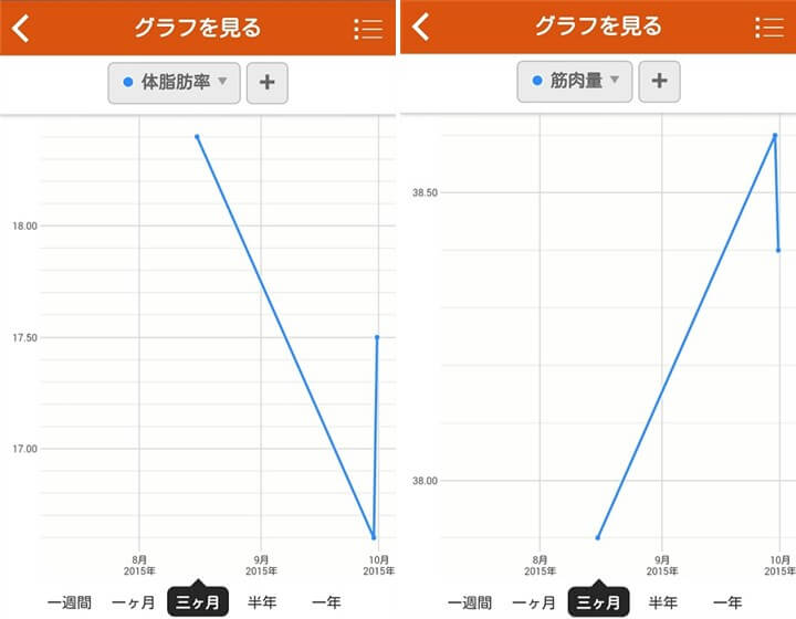 体脂肪などのグラフ